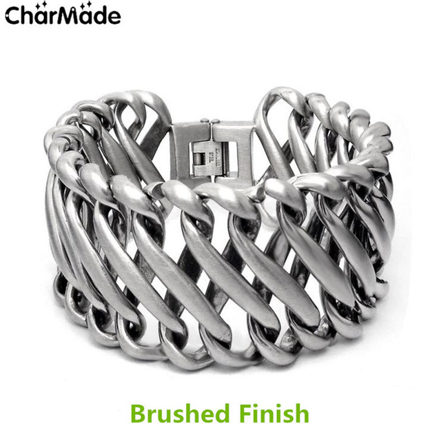 Friendship Bracelets Men Jewelry Stainless Steel Chain Bracelet Bold Metal Heavy Men's Charm Wristband Braclet Dropshipping B414