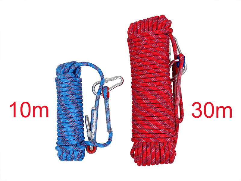 Climbing Rope, 10mm, Tree Wall Climbing, Survival Fire Escape Safety Rope Carabiner 24