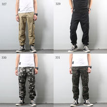 2019High Street Fashion Men Jeans Army Jogger Pants Camouflage Military Elastic Waist Drawstring Zipper Ankle Banded Jeans Men(China)