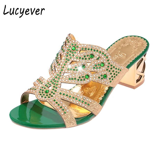 c52500c943262 Lucyever 2018 Summer Women s Rhinestones Slippers Slides Fashion Thick High  Heels Gladiator Sandals Beach Flip Flops Shoes Woman