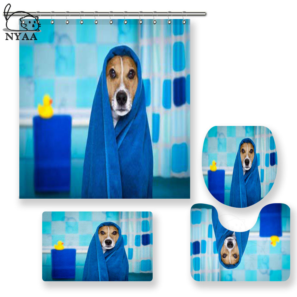 NYAA 4 Pcs Jack Russell Dog In A Bathtub Shower Curtain Pedestal Rug Lid Toilet Cover Mat Bath Mat Set For Bathroom Decor
