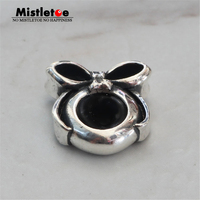 Genuine 925 Sterling Silver Bow Spacer Stopper Charm Beads Fit European Troll 3 mm Bracelet Jewelry