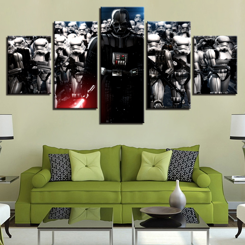 HD Canvas Wall Art Poster Modular Printed 5 Panel Star Wars Character Frame Pictures Home Decor Living Room Modern Painting