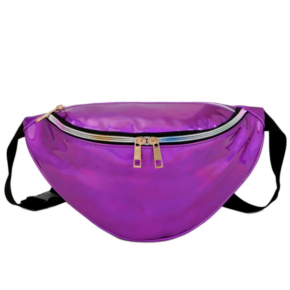 2018 New Women's fanny Pack Multifunction Laser Purse Translucent Reflective Chest Waist Bag Women Waist Bag Belt Pack