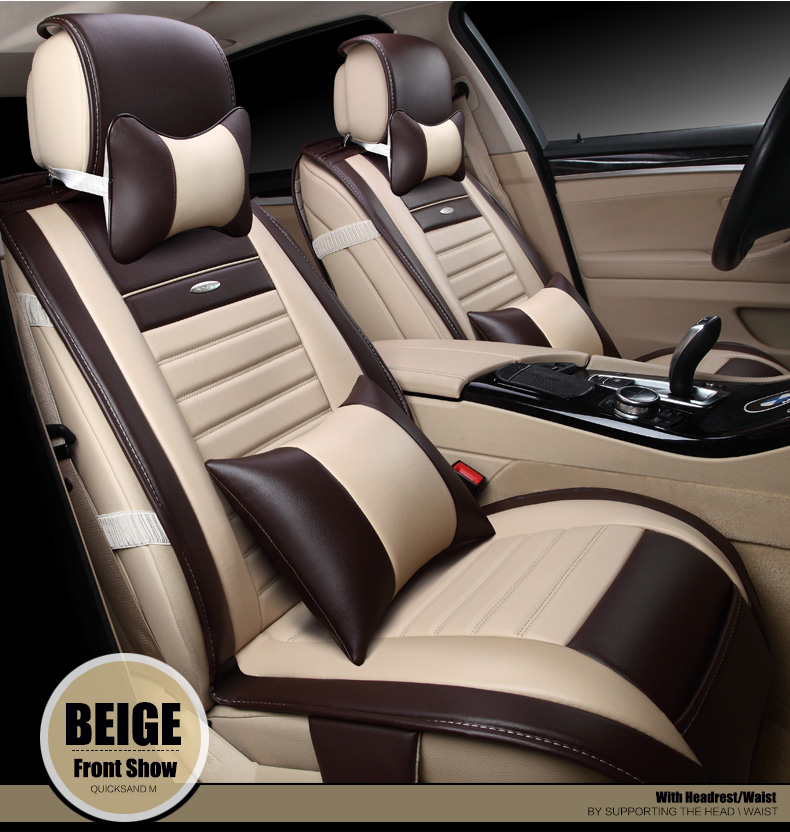 цена на BABAAI brand leather car cushion for mitsubishi pajero lancer outlander galant front and rear full car seat cover beige/black