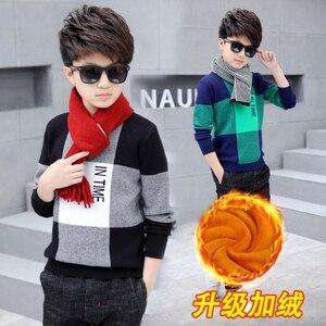 Image 3 - Pull en velours pour garçons, pull chaud pour enfants, pull tricoté, ample, à lintérieur, à carreaux, 4 13T, pour adolescents