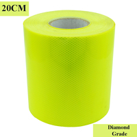 20CM*45M Fluorescent Yellow Diamond Grade Prismatic Reflective Sheeting Conspicuity tape Truck Safety Markings Warning Strips
