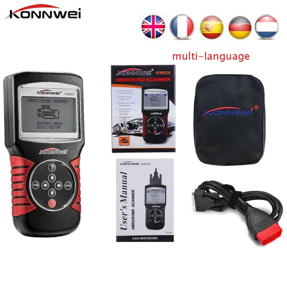 KONNWEI KW820 OBD II Automotive Errors Code Reader Scanner diagnostic auto OBD 2 Tool Multi-languages Universal Scanner PK VS890