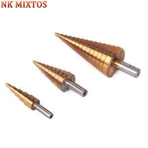 Hot Sale 1PCS 4-12mm 4-20mm 4-32mm HSS Titanium Coated Stepped Drill Power Tools Carbide Triangle Shank Step Drill Bit