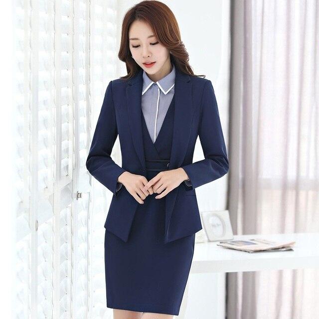 45a7eac6f02 Uniforme Formal profesional de diseño trajes de negocios con 3 piezas  chaqueta + vestido + blusa