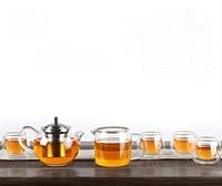 SAMA T109 di Vetro Mini Handmade Gongfu Tea Set Teiera Brocca 4 Tazze A Doppia Parete