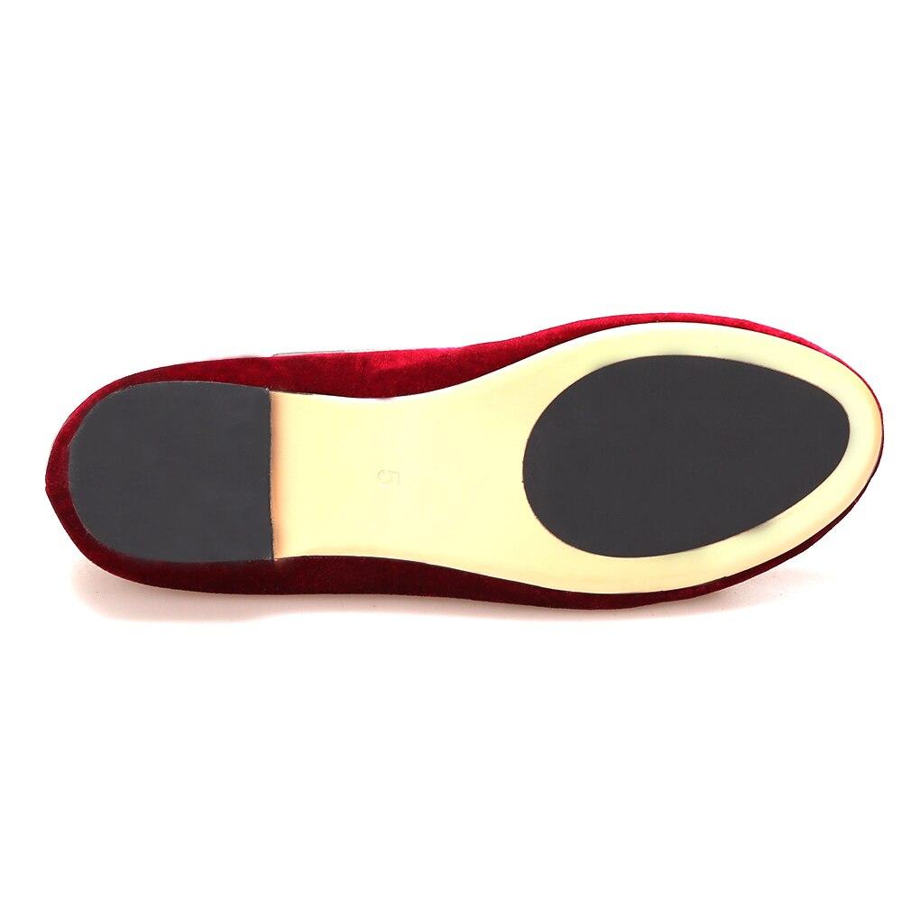 Piergitar Nieuwe handgemaakte vrouwen fluwelen schoenen met kwastje wijn rode kleur vrouwen Casual en Party loafers vrouwen jurk flats - 5