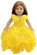 Ebuddy Yellow Color Royal Ball Gown Formal Princess Party Dress For 18 inch American Girl Doll