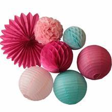7 pces festa decoração conjunto pendurado fã de papel, lanternas de papel, bola favo de mel, papel de tecido pom pom decoração do casamento rosa fúcsia azul