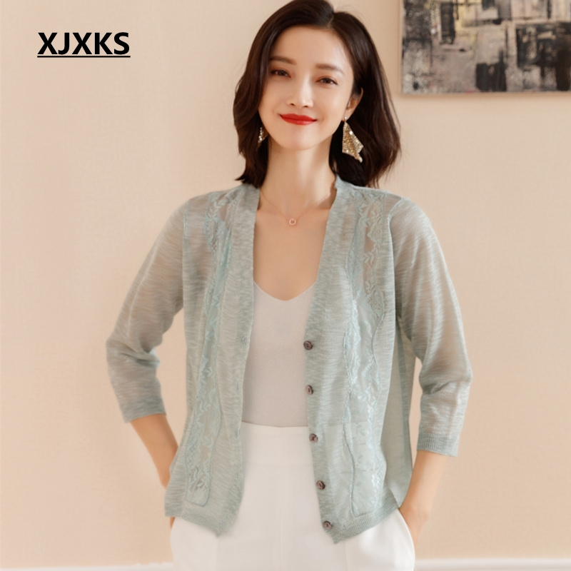 NEW Women lace shawl knit cardigan jacket sun shirt female coat knitted sweater