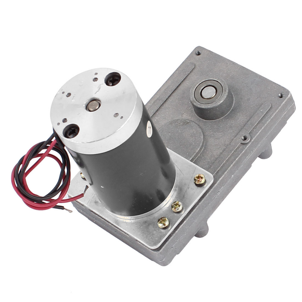 цена на DC 24V 30/70/120RPM 8mm Dia D shaped Shaft High Torque Electric DC Worm Gear Box Motor Speed Reducer Motor