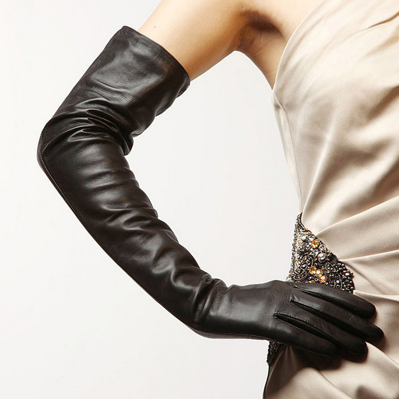"women winter warm 58cm(22.8"")long real sheep leather opera evening long gloves black"
