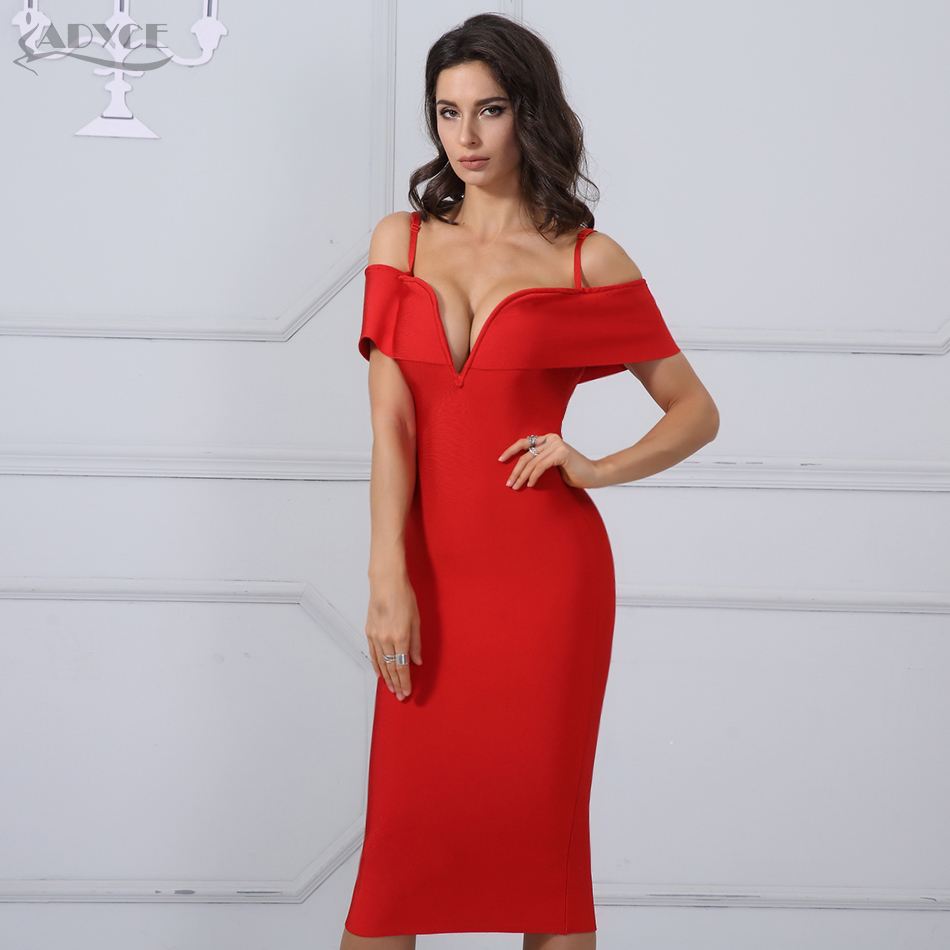 861b4643adb Adyce Summer Women Bandage Dress Vestidos Verano 2018 New Red Sexy Deep V  Neck Spaghetti Strap Luxury Club Celebrity Party Dress