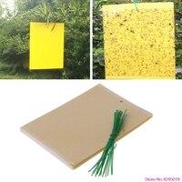 Conveniente 20 pces armadilhas pegajosas amarelas de dupla face para voar ferramentas de jardinagem do inseto da planta
