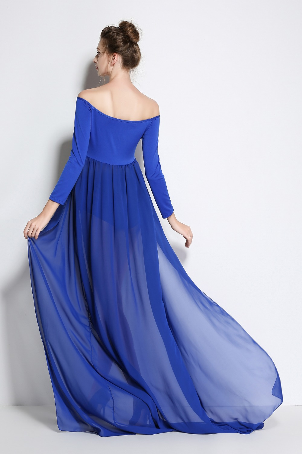 blue plus size Pregnant Photography Props Pregnancy Maternity Dress  Maternity Photo Shoot Long Dress baby shower Fancy Dresses-in Dresses from  Mother   Kids ... e635f9ebf8bb