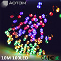 1pc 10M 100 LEDs RGB solar powered christmas lights Outdoor Garden Tree Decoration Fairy Holiday Lighting Strings FREE Shipping