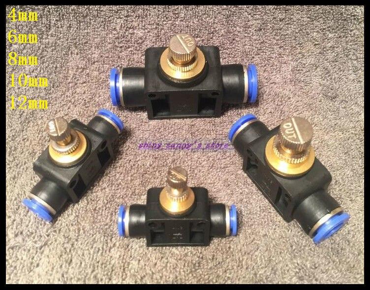 5Pcs/Lot  10mm Push In Speed Controller Pneumatic Air Valves 5pcs lot 4mm push in speed controller pneumatic air valves