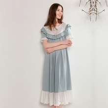 Woman Nightgowns Summer Pure Cotton Short Sleeve Cute Sweet Princess Medium And Long Section Nightdress Female Sleepwear D181203