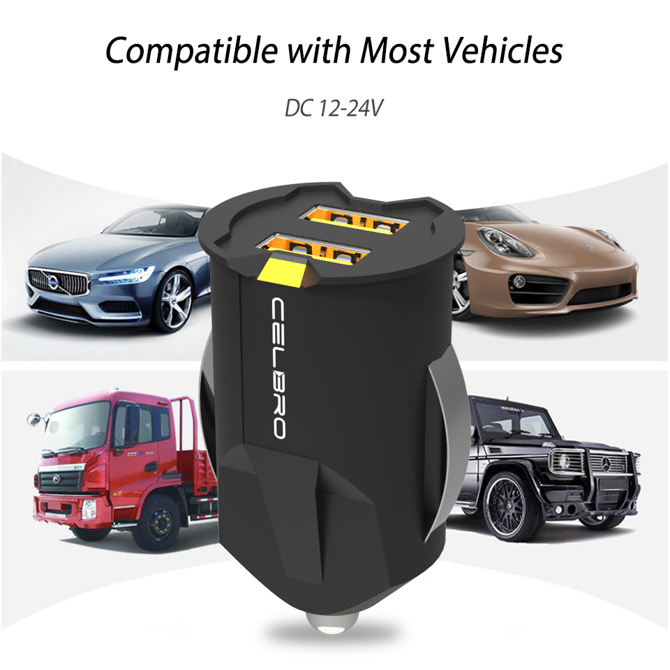 Smallest Mini Dual USB Car Charger Adapter 2A And Wall Charger With Auto Charge 8