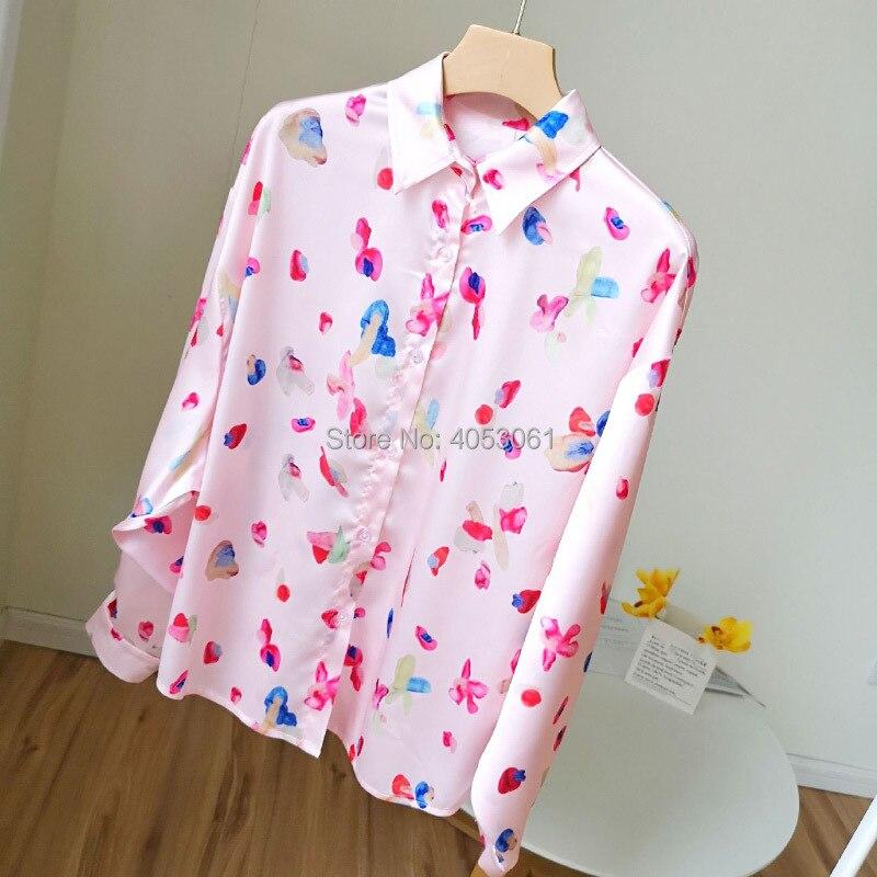 Pink Floral Print Long Sleeve Blouse Shirt 2019 New Women Satin Shirt Top