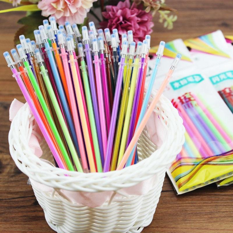 12 pcs/lot DIY Cute Kawaii Colored Fluorescence Refills For Highlighters Gel Pens Graffiti Painting Student 3703
