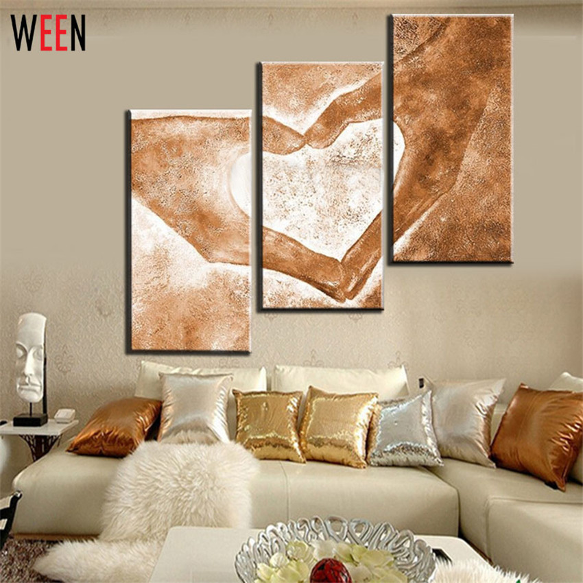 Aliexpress.com : Buy Hand Painted 3pcs Modern Abstract Oil Paintings Love  Heart Drawing By Hands Canvas Art Living Room Wall Pictures Decor From  Reliable ... Part 81