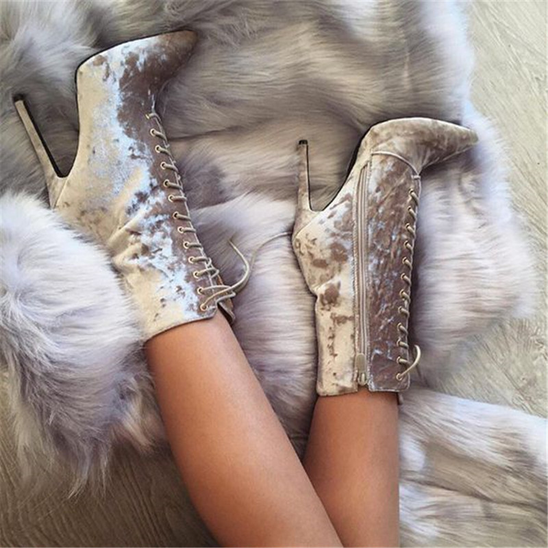 2018 New Fashion Women Pointed Toe Velvet Short Gladiator Boots Lace-up Thin Heel Side Zipper-up High Heel Ankle Booties martins real leather plus velvet british style high heel womens fashion boots winter 2015 lace up pointed toe ankle side zip