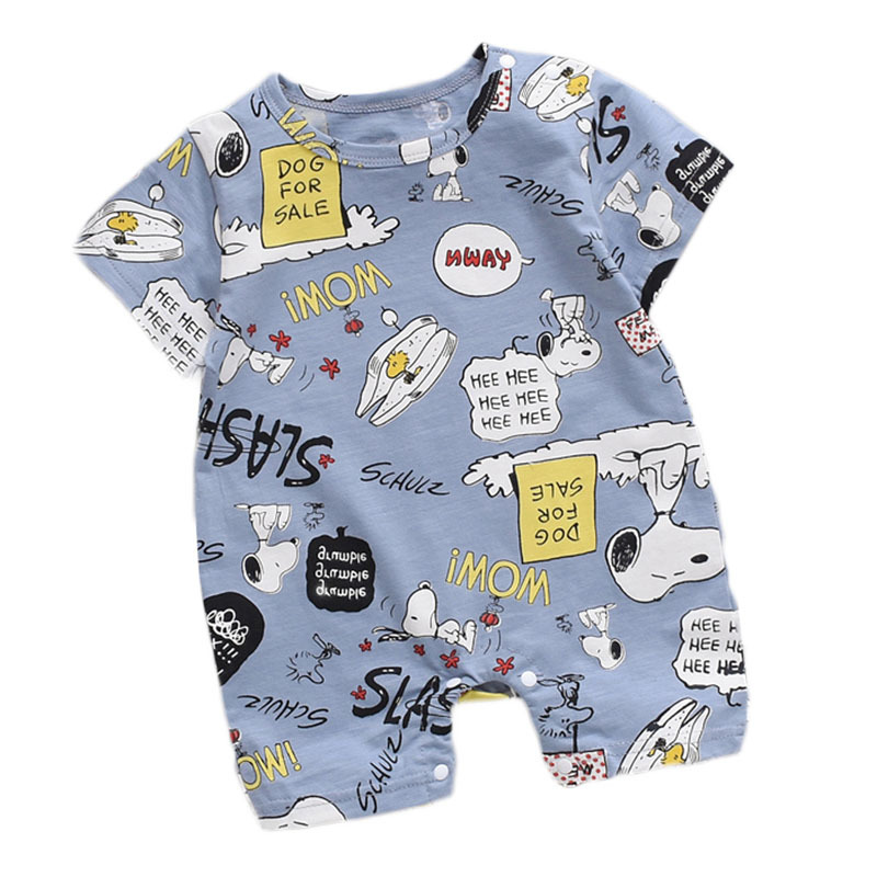 Newborn Summer Baby Boy Romper Short Sleeve Cotton Infant Jumpsuit Cartoon Printed Baby Girl Rompers Newborn Baby Clothes