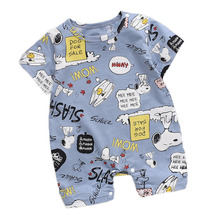 цены на Newborn Summer Baby Boy Romper Short Sleeve Cotton Infant Jumpsuit Cartoon Printed Baby Girl Rompers Newborn Baby Clothes в интернет-магазинах