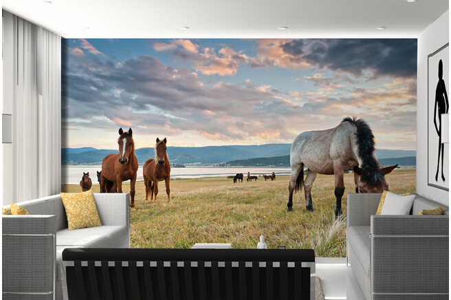 Custom 3D murals,beautiful scenery on the island of wild horses , living room sofa TV wall bedroom background wallpaper free shipping custom large murals of the nordic wood eco living room bedroom tv background wall on a board of nuts