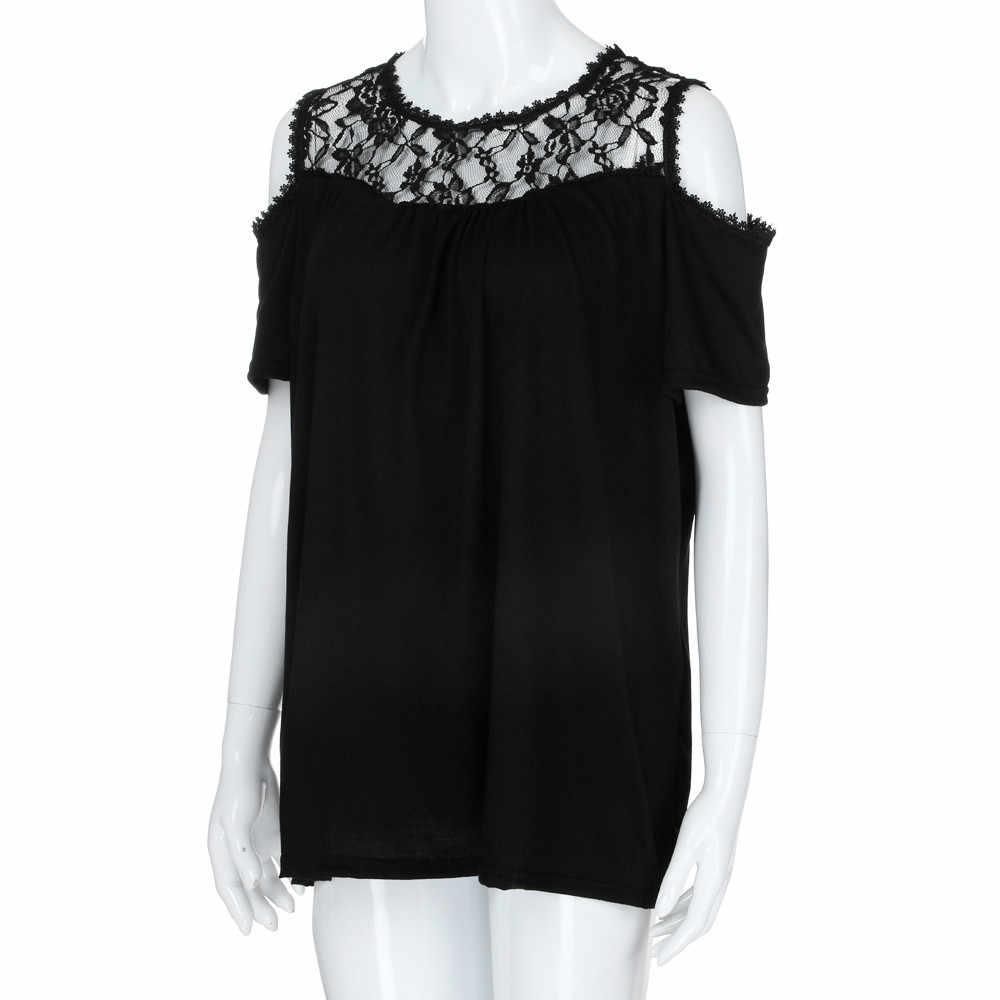 Wanita Plus Ukuran Blus Off Bahu Top Tunik Renda Sambatan Patchwork Fashion Wanita Bahu Dingin Ukuran Besar XL-5XL Atasan Kemeja Putih)