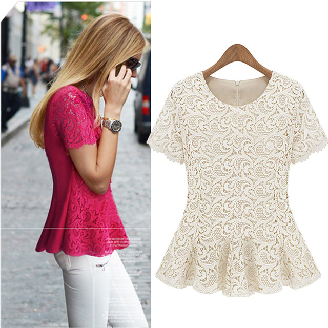 2014 European style summer fashion lace blouses for women tops chiffon brand embroidery woman t-shirt plus size xl t shirt
