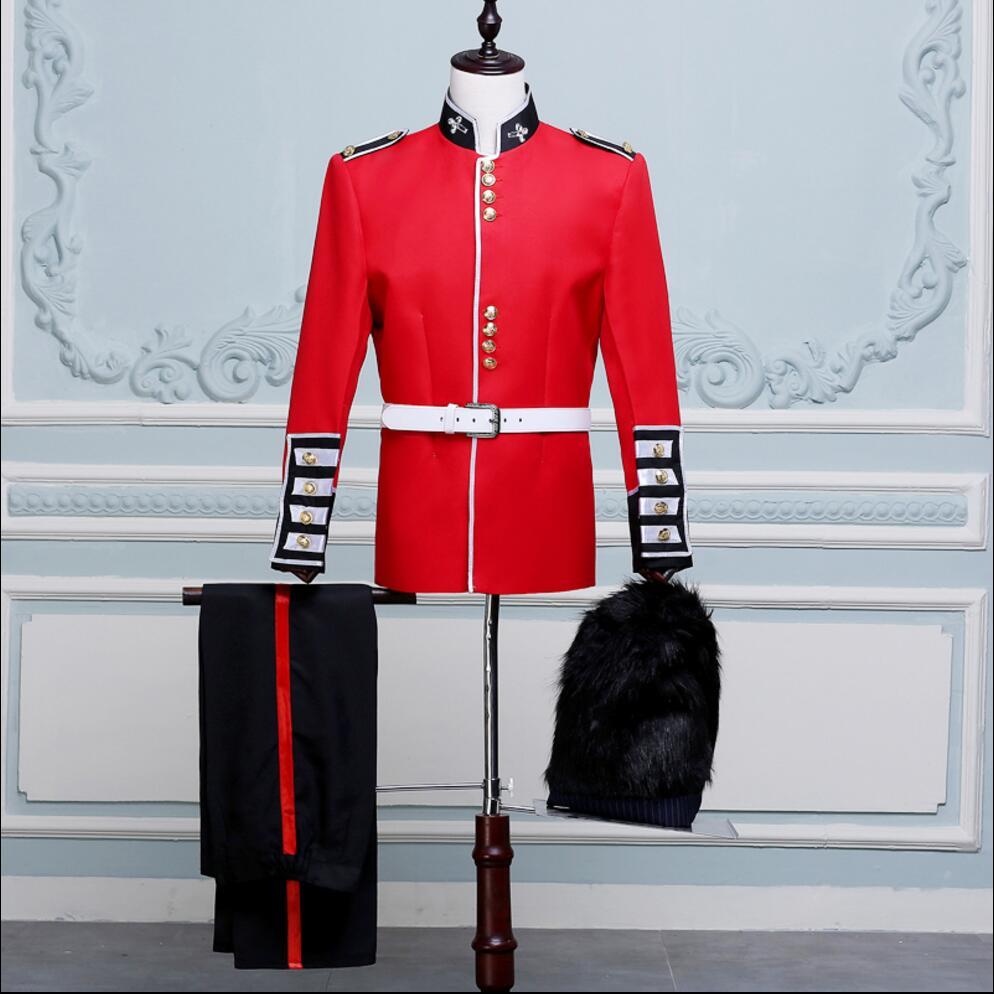 (Veste + pantalon) nouveaux hommes costumes rouges garde d'honneur performance vêtements hommes gardes soldats hôte chanteur scène costumes robe formelle