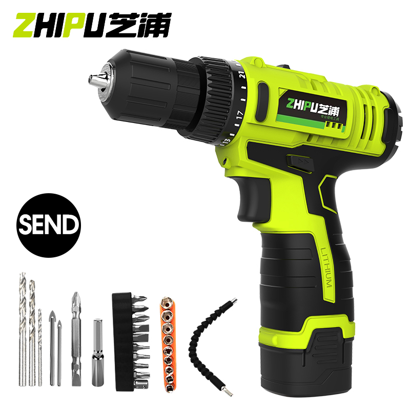 ZHIPU 20V Rechargeable Lithium ion Battery Cordless Electric Drill Pistol Drill Electric Screwdriver Set Wrench Power Tools Set