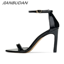 JIANBUDAN/ Patent leather sexy High heel banquet sandals Womens fashion summer Pumps 6cm/8cm high Office Lady 34-40