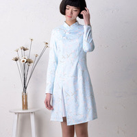 2015 Spring And Summer National Trend Vintage Slim 100 Irregular Cotton Cheongsam Dress One Piece Dress