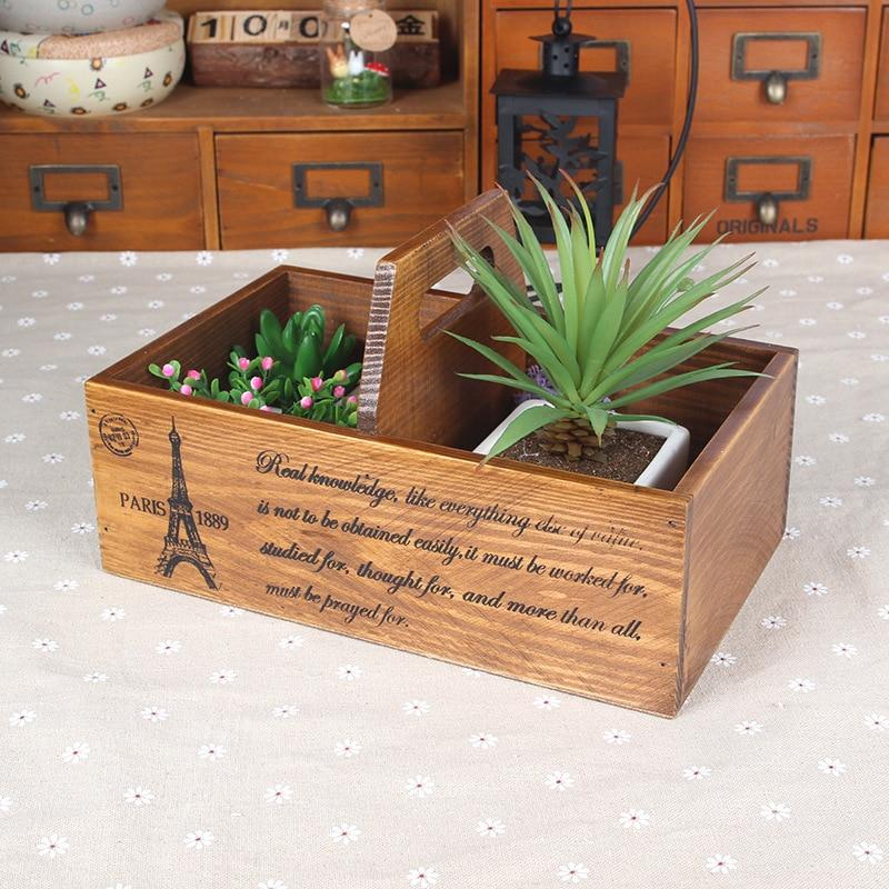 1PC Home &Garden Multifunction Wooden Storage Boxes Bins Creative Wood Box Flower Vase Desktop Storage Case Office Box JL 0923