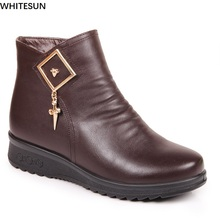 WHITESUN 2017 winter boots women split leather antiskid rubber bottom snow shoes women wedge ankle boots plus size snow boots