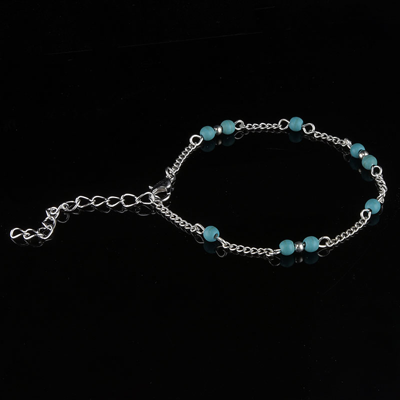 1Pcs Unique Nice Turquoise Beads Silver Chain Anklet souvenir Ankle Bracelet Foot Jewelry Fast New Hot