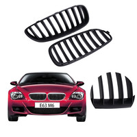 2x Matte Black Front Kidney Grille Grill For BMW E63 E64 645i 650i M6 Convertible Coupe 2004 2010 CASE