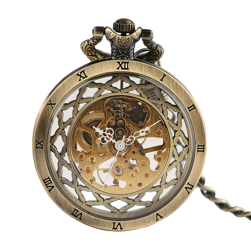 Antique Open Face Hollow Roman Numbers Pocket Watch Mechanical Hand Wind Fob Vintage Pendant Steampunk Hour Necklace Chain Clock