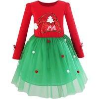 Sunny Fashion Girls Dress Christmas Santa Hat Long Sleeve Party Dress 2016 Summer Princess Wedding Dresses