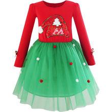 Sunny Fashion Filles Robe De Noël Santa Chapeau Parti Manches Longues Robe 2017 D'été Princesse Robes Vêtements De Mariage Taille 6-12