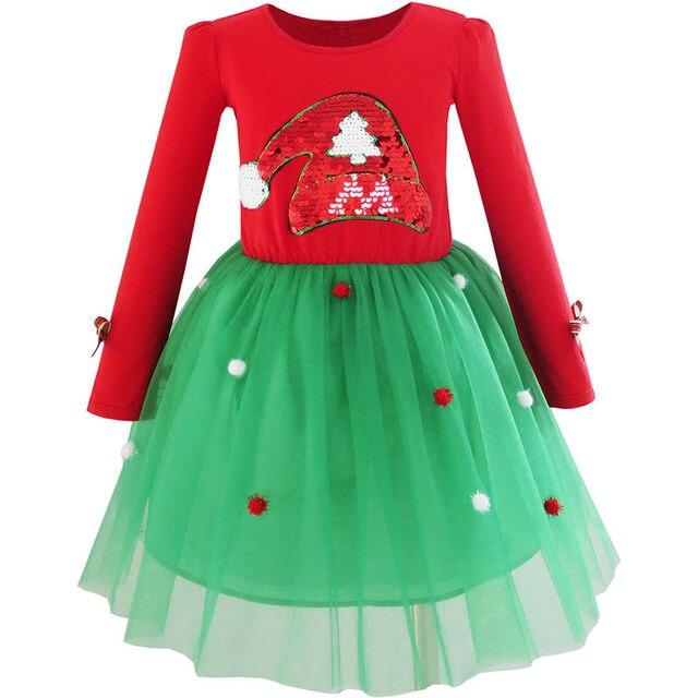 16e43cceb198d Sunny Fashion Robe Fille Noël Chapeau de père Noël Manche longue Fête Robe