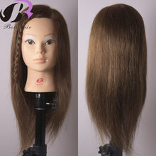 "Dummy Head for Hairdressing New Arrival Mannequin Head With Hair 18"" 100 Human Hair Training Head For College Hairdressing(China)"